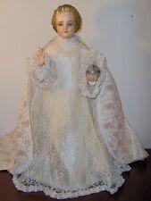 "Vtg Catholic Statue HOLY INFANT OF PRAGUE JESUS VESTMENT Cream Pinkish Lg 21"""
