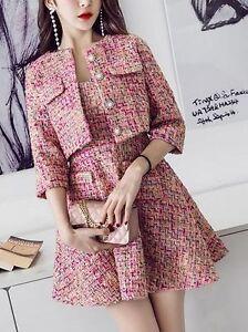 Tubino Abito Giacca 7143 Elegante Lunga Mademoiselle Rosa Tailleur Manica Coco xnwO6U8q