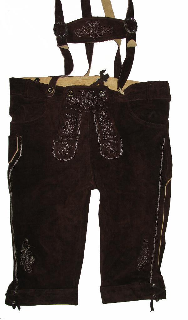 Strong: Men's Traditional Costume Kniebund- Leather Pants/Costume Dark Braun