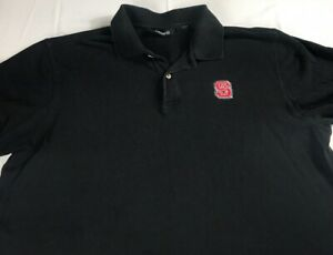 NC-State-Wolfpack-Polo-Shirt-Mens-Large-Golf-Student-Alumni-Graduate-Black-Red