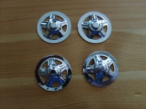 4 REPLACEMENT CHROME LATE TRI PRESSED STEEL TOYS HOLE HUBCAP FOR TONKA TOY