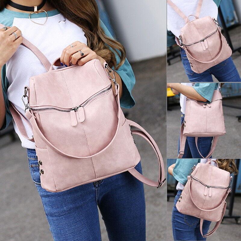 Women/'s Leather Backpack Anti-Theft Rucksack School Travel Bag Satchel
