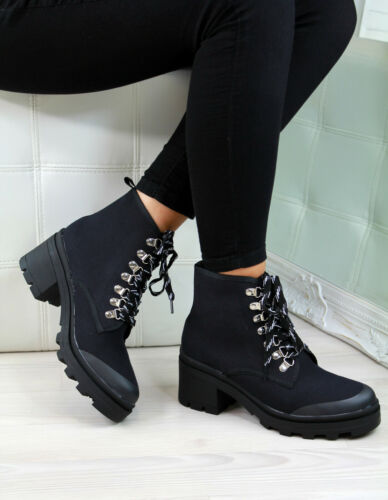 New Womens Ladies Ankle Boots Lace Up Block Heel Comfy Casual Shoes Sizes 3-8
