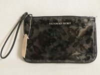 Small Victoria's Secret Black Vinyl Sequins Wristlet Zipper Purse With Tags