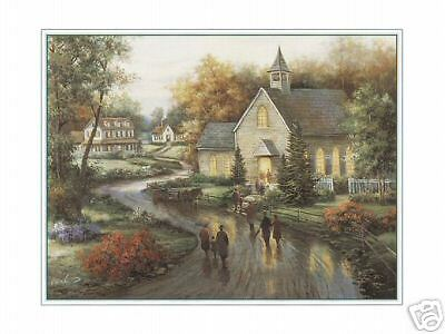 Forest Chapel by Carl Lessing Art Country Church Hill Rock Woods 8x10 Print 0756