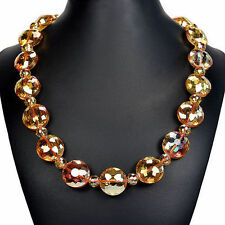 Mystic Fire Crystal Love Knot Necklace Handcrafted Bead Jewellery UK Gift Idea