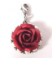 SoHo® Ketten Anhänger Rose rot matt eloxiert Perlen altsilber Karabiner