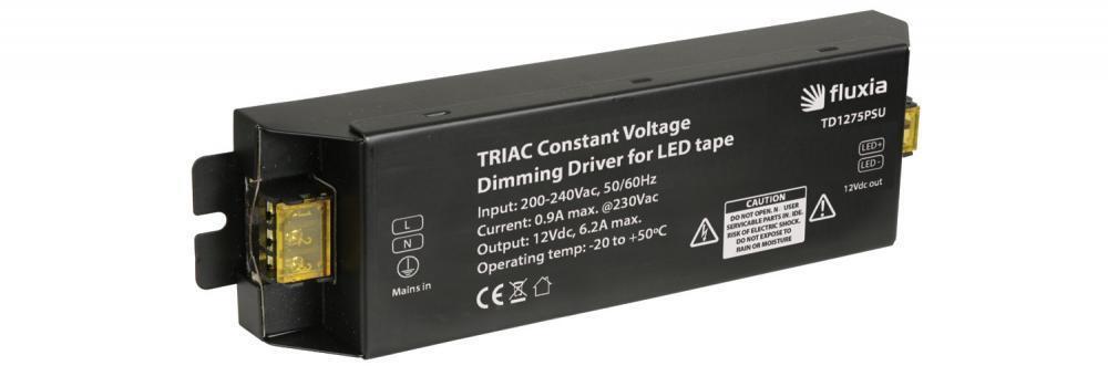 FLUXIA 153.773 Triac lisse Dimmable 12Vdc PSU 75 W lisse Triac Contraste Ruban conducteur-Noir a7c01a