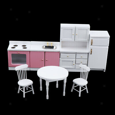 MagiDeal Doll House Miniature Natural Furniture Cabinet Table Set 1:12 Scale