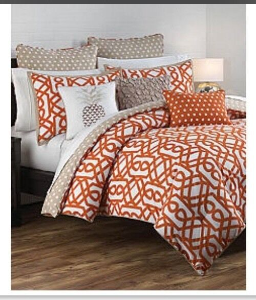 New Directions Wyatt 3 Pc Twin Twin XL Comforter Set Reversible Orange Khaki New