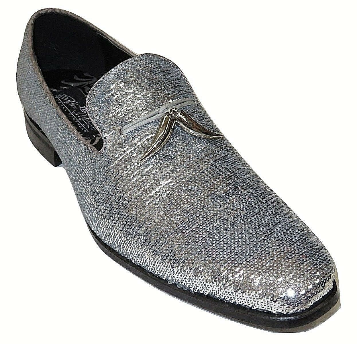 Men AFTER MIDNIGHT Formal Stage Wedding shoes Sequin shiny Slip on 6759 Silver