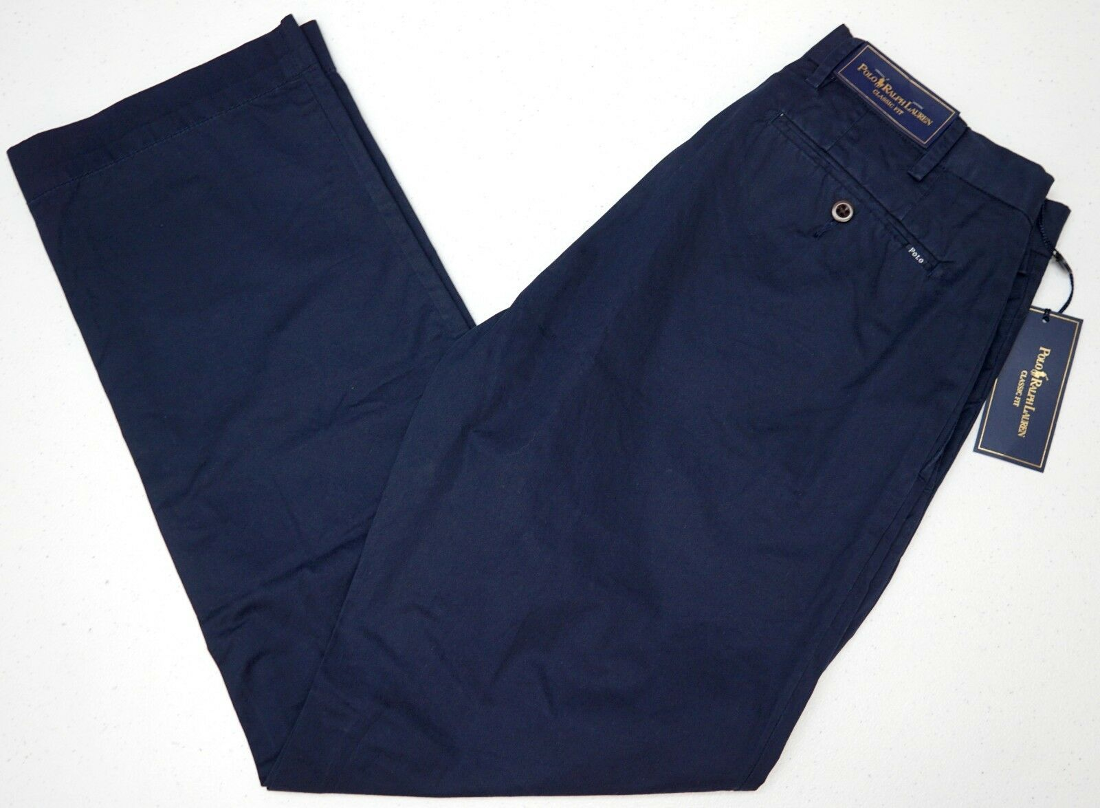 NWT  Polo Ralph Lauren Classic Fit Flat Front Pants Mens 34 Navy bluee Pima