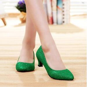 b20e7836184 Details about Womens bride wedding kitten heel sequin bling slip on shoes  size gold red green