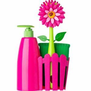 Vigar-Flower-Power-Spuelset-mit-Seifenspender-Schwamm-und-Spuelbuerste-pink-Blume
