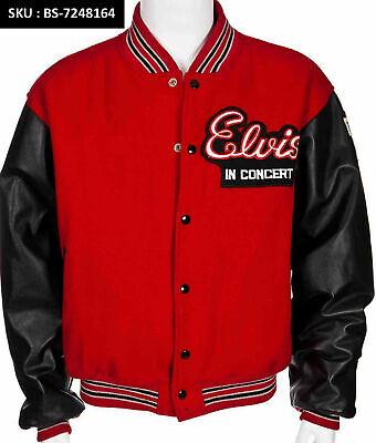 SALE KING OF ROCK ELVIS PRESLEY Red Leather Vintage ELVIS Style Jacket