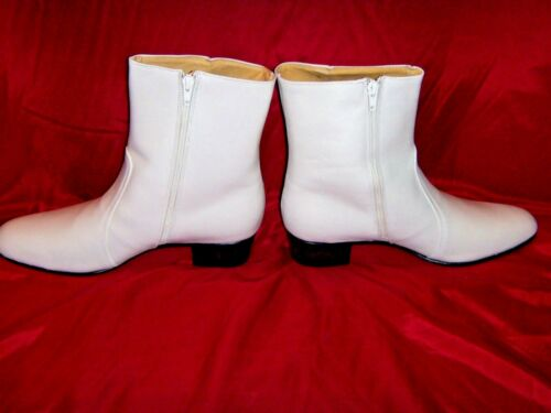 Size USA 11 Jumpsuit Era Costume Elvis BRIGHT WHITE 100/% Leather Zip Boots