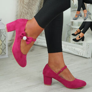 NEW-WOMENS-BLOCK-HEEL-PUMPS-BOW-BUCKLE-STRAP-ROUNDED-TOE-CASUAL-SHOES-SIZE