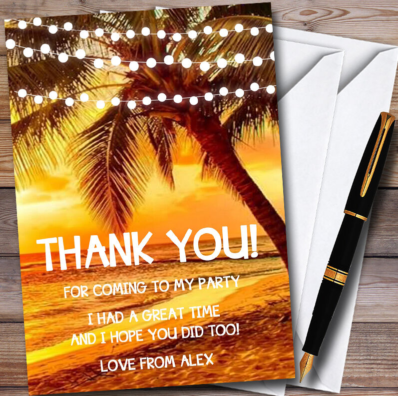 Sunset Beach Lights Personalised Party Thank You Cards