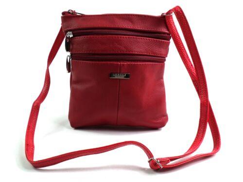 LADIES GIRLS NEW GENUINE LEATHER CROSSOVER BODY BAG SHOULDER BAG PURSE SATCHEL