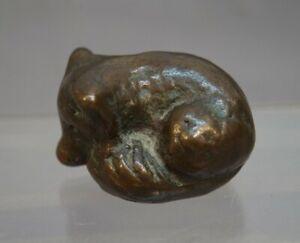 Kleiner-putziger-Fuchs-Kuenstlerbronze-20-Jahrhundert-Bronze-Vollguss
