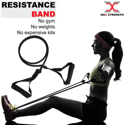 Resistance Band Single Tube Workout Heavy Duty Yoga Gym Exercise Crossfit Black