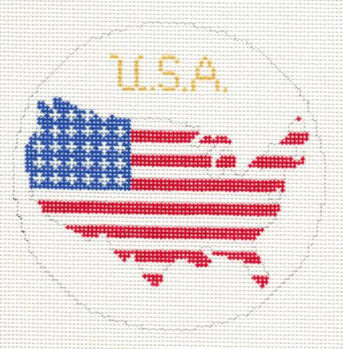 Patriotic USA Flag Map handpainted Needlepoint Canvas Ornament Silver Needle