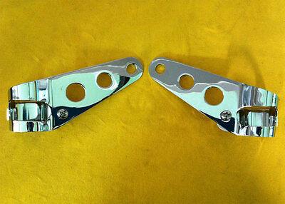 Headlight Ear Fork Mount Brackets, Chrome suit Cafe Racer, Bobber Classic Custom