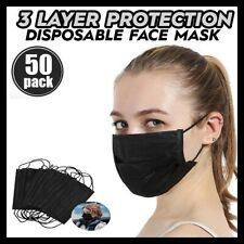 50 Pc Black Face Mask Mouth Amp Nose Protector Respirator Masks With Filter New