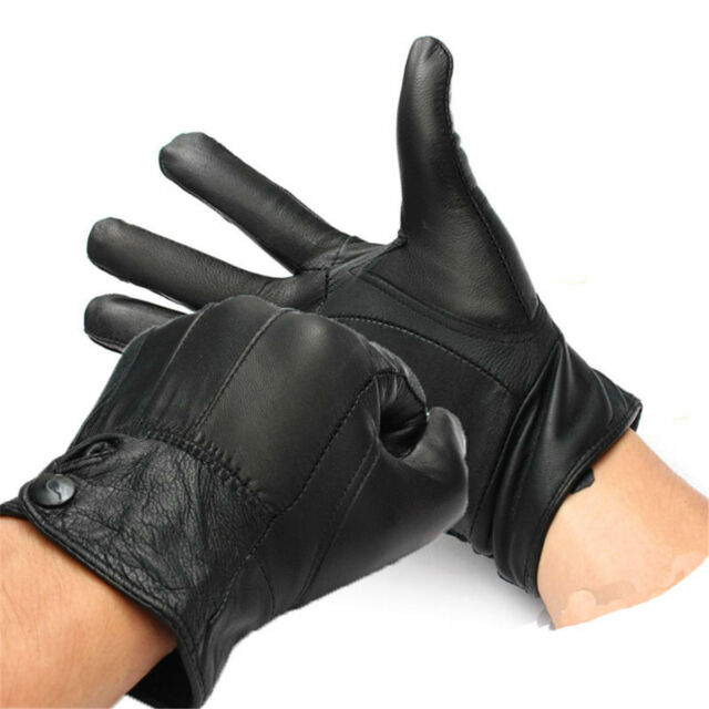 Premium Leather Motorcycle Moto bike Biker Riding Winter Coral Fleece Warm Glove