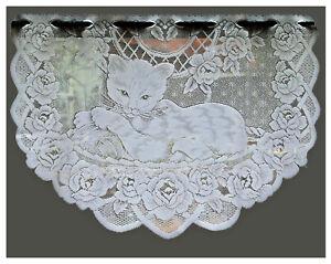Fensterbild Katze Jacquard Weiß Gebogt Scheibengardine Rosen Bogen Gardine Typ34