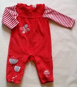 ca75f61c23372 Combinaison   Pyjama velours rouge et rayé bébé fille 6 MOIS ...