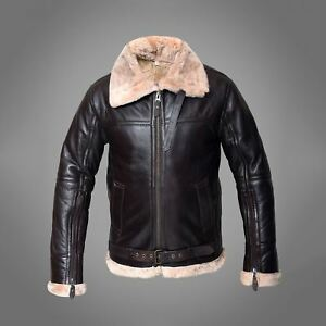 Raf B3 Men's Winter Flight Real Sheepskin Shearling Leather Flying Brown Jacket