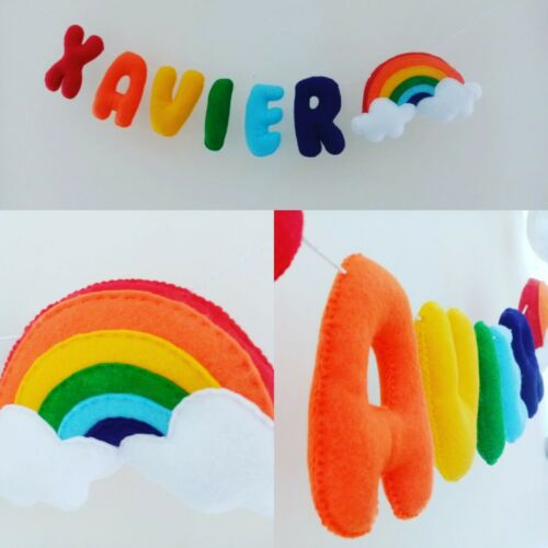PRICE PER LETTER Felt Name Letter Garland Banner Rainbow Nursery Decoration