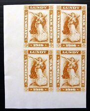 GB Original GERALD KING Lundy 1916 War Tax Imperf Block of 4 U/M NB2664