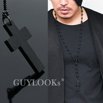Dark Gothic Edge Men Women Long Black Bead Big Wood Cross Charm Necklace Guylook