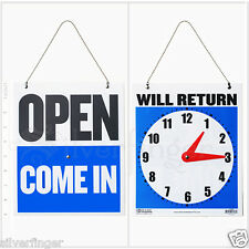 Open Closed Sign Will Return Clock Business Hours Hanging 2 Sided 9x7