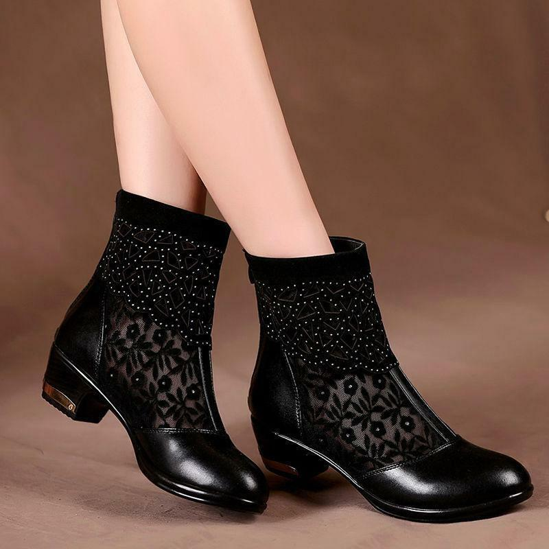Sexy Womens Ladies Chunky Low Heel Hollow Out Lace Casual Ankle Boots shoes Y549