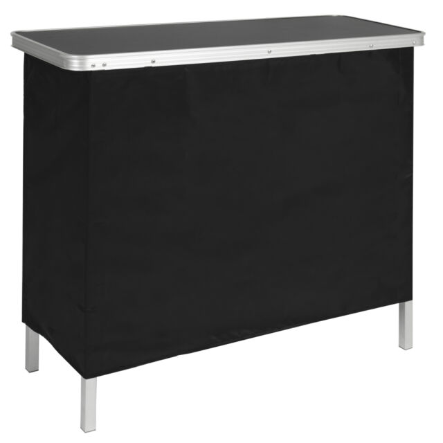 BCP Portable Pop-Up Bar Table w/ Carrying Case, Removable Skirt - Black