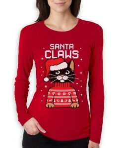 Ugly Christmas Sweater Cat.Details About Santa Claws Ugly Christmas Sweater Cat Women Long Sleeve T Shirt Gift