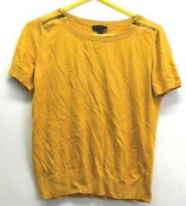 Worthington-Women-039-s-Size-Large-Shoulder-Zip-Short-Sleeve-Yellow-Sweater-Top
