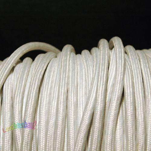 2x0,75mm² Baumwollkabel weiß rund Textilkabel 2 x 0,75 mm²