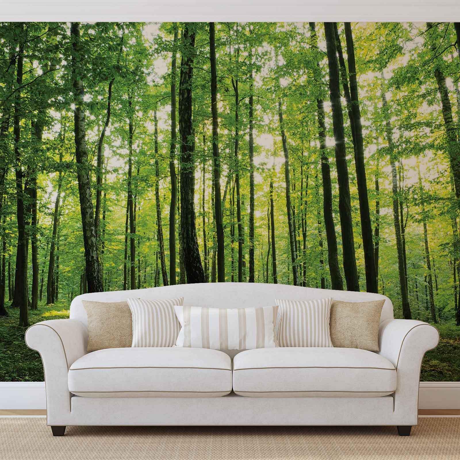 VLIES FOTOTAPETE FOTOTAPETEN WANDBILD BILD TAPETE 186VE Wald Bäume
