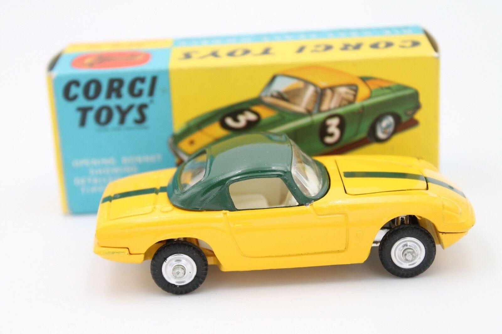 Corgi Juguetes 319  Lotus Elan hardtop amarillo verde  1 43  leaflet  OVP
