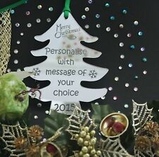 Personalised Christmas Tree Decoration Gift SILVER MIRROR