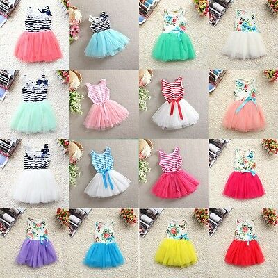 Girls Kids Princess One-piece Floral Print Stripe Tulle Dresses Skirts Clothes