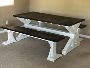 Awesome Details About Handmade Dining Table Farmhouse Room Set With Benches Machost Co Dining Chair Design Ideas Machostcouk