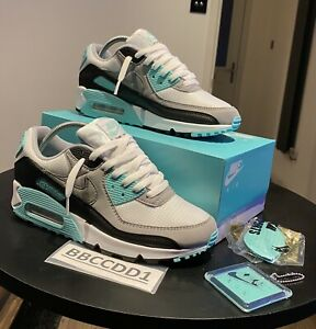 BR-NEW-WOMENS-NIKE-AIR-MAX-90-TRAINERS-WHITE-GREY-TURQUOISE-SIZE-UK-6-95-1