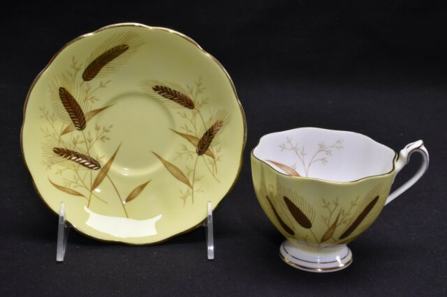 Queen Anne 5492H Gold Wheat On Yellow Cup & Saucer