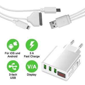 Schnellladegerät & 3in1 Ladekabel für iPhone 13 12 11   3 Port Netzteil Display