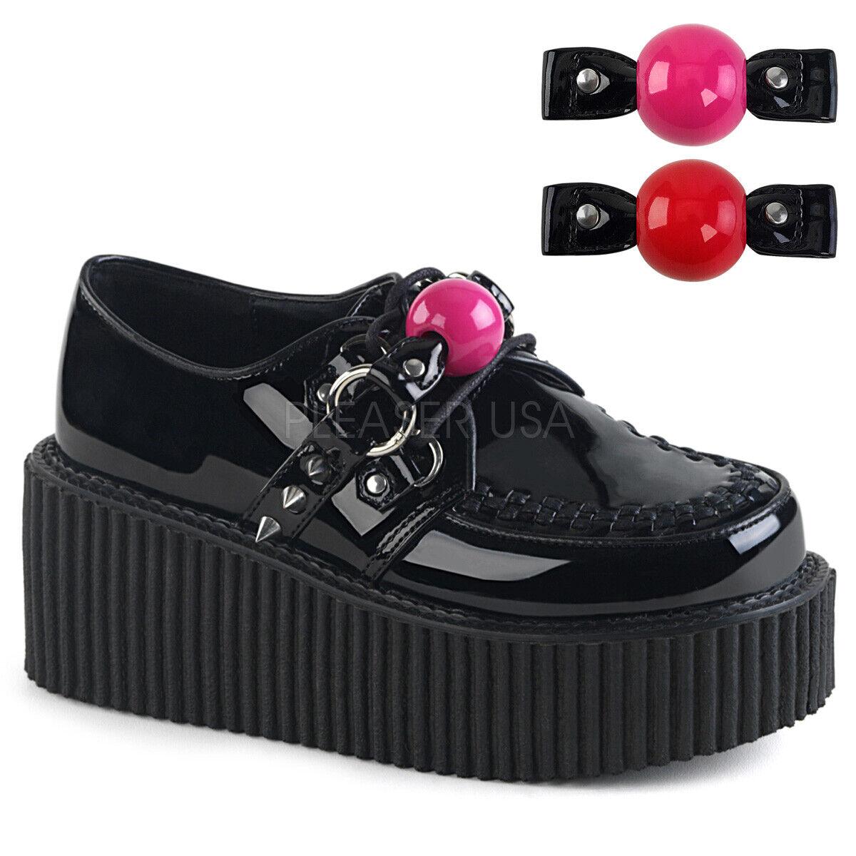 PLEASER Demonia Creeper-222 3  Platform Oxford Creeper W  Changable Ball Gag